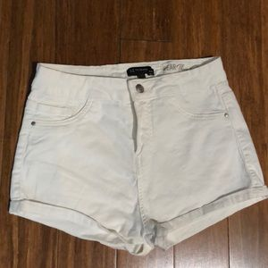 White high waisted jean shorts
